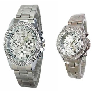 i DIVA'S  Paidu Silver Collection Fancy Couple Analog Watches For Men And Women