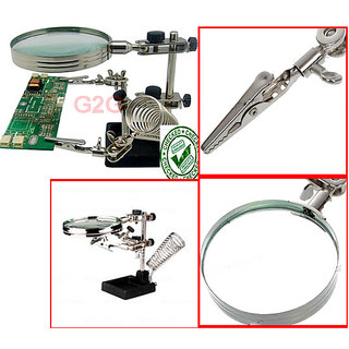 Helping Third Hand Clamp Magnifier soldering Stand 5x Magnifying Glass