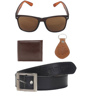 Abloom Men Gift Combo Pack Of 4 Wallet , Belt , keychain , sunglasses (Synthetic leather/Rexine)