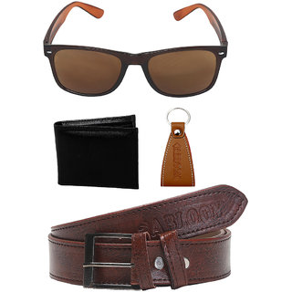 Abloom Men Gift Combo Pack Of 4 Wallet , Belt , keychain , sunglasses