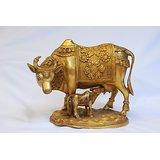 MC Brass Metal Kamdhenu Cow And Calf Idol
