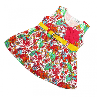 Best Quality Multi Colour and pink Flowers Printed on Frock for Girls