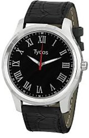 Tycos Black Dial With Black Leather Strap Analog Watch