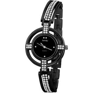 Howdy Crystal Studded Black Dial with Black Chain Analog Watch