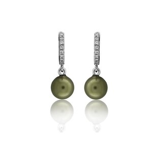 Bali With A Round Green Mother Of Pearl With Clear White Cz