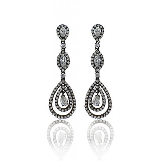 Jhumki Style Long Earring With Black Dull Finish