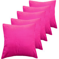 ANS Fuschia Solid Cushion Covers Set Of 5