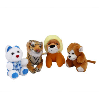48517c80bea2 Buy Set of 4 Animal Soft Toys ( Small Teddy, Baby Lion, Baby Tiger, Small  Monkey) Online - Get 24% Off