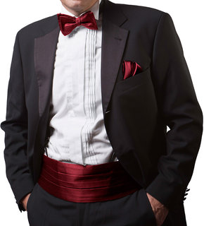 Combo of Red Bow Tie Cummerbund  Pocket Square  Wedding Party Formal Gift