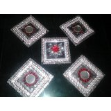 Hand Crafted Wodden And Mirror Rangoli