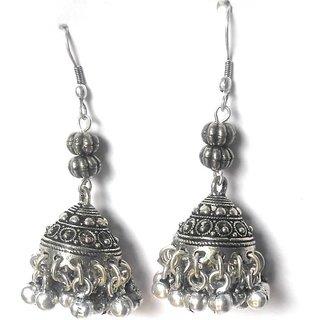 Jhumki Oxidised Silver Metal Earrings Long Dangle Hook With Beads Wear Desi Be Trendy Athizay