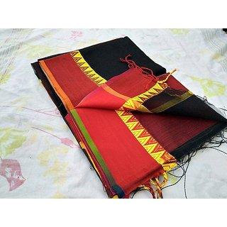Khan Handloom Maheshwari Saree Presents Black And Red Color Saree FOR WOMEN