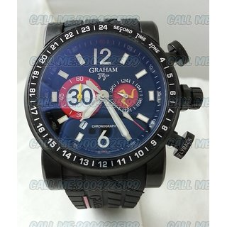 Graham TT Chronograph Quartz Mens Blue Dial Black Leather Swiss Watches