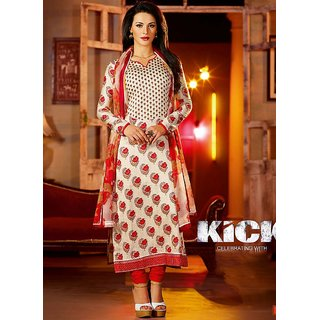 Kick Movie Red & Off White Cotton Churidar Suit