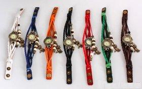 TRUE COLORS Round Beige Dial Multicolor Leather Strap Quartz Analog Watch For Women(Color As Per Availability)
