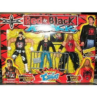 WCW RED AND BLACK ATTACK- HOLLYWOOD HOGAN, KEVIN NASH, AND ERIC BISCHOFF- ULTRA RARE