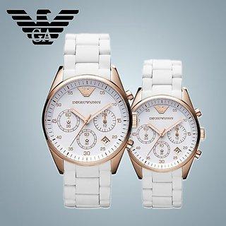 Emporio Armani Mens & Womens Silicone White Chronograph Watch Ar5919 & 5920