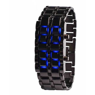 Metal bracelet Led Mens Watch Dark Samurai Blue LED watch