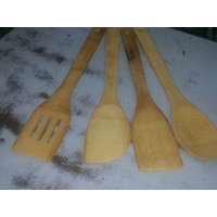 Set Of 4 Wooden Serving Spoon With Nice Designs For Daily Kitchen