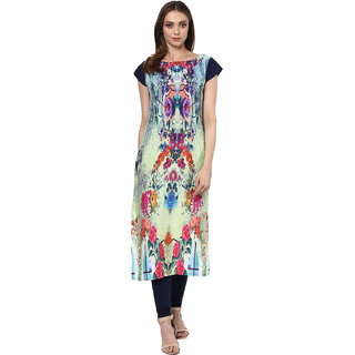 Ziyaa Multicolour Digital Print Crepe Casual Kurti