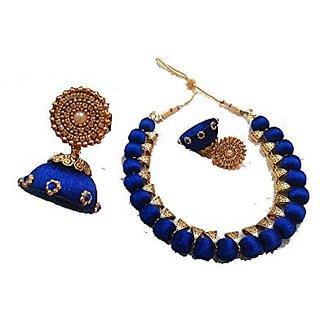Pramthimayis Blue Designed shine silk thread Necklace for women