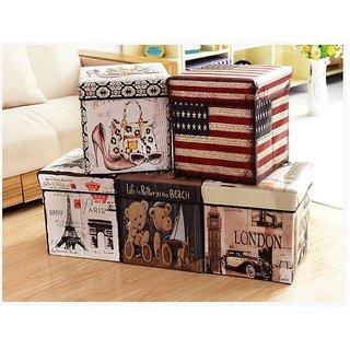 Fabric Folding Storage Box Foot Leg Rest Step Stool Country Home Decor