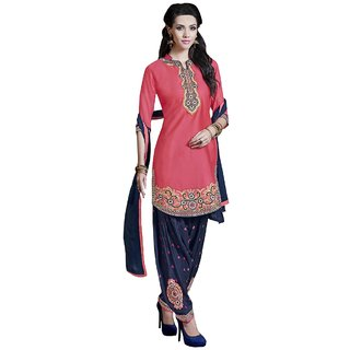 Decent world Pink Cotton Satin Embroidered Unstitched Dress Material With Matching Dupatta