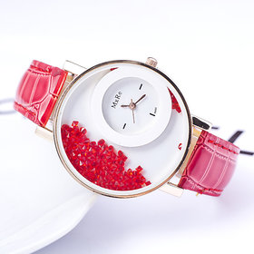 Mxre Round Dial Red Leather Strap Analog Watch For Women
