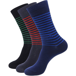 Justice League Mens Striped Crew Socks - Black