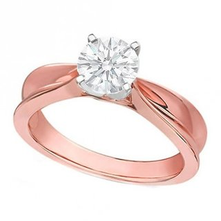 Cara Beautiful Single Solitaire Ring With Rose Gold Plating Made In Sterling