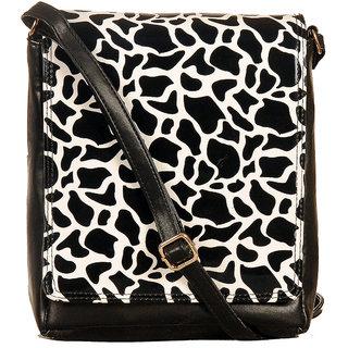 KATVON Black Self Design Sling Bags