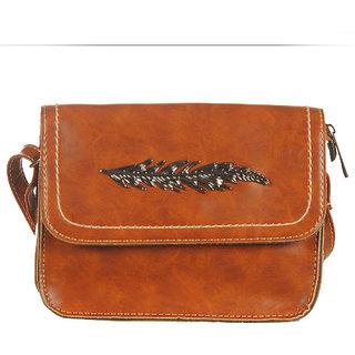 KATVON Brown Self Design Sling Bags