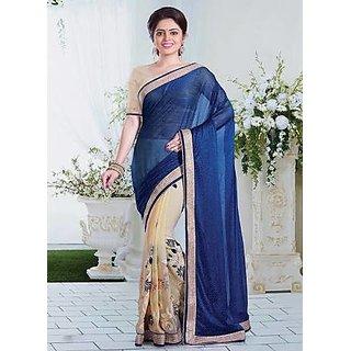 Jaisvi Fashion Blue  Cream Embroidery Saree with Blouse