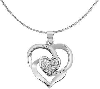 Shiyara Jewells 92.5 Sterling Silver CZ Triple Heart Pendant for women with Chain PS00160C