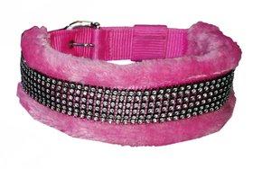 Petshop7 High Quality  Stylish Nylon Fur Dog Collar -1.25 Inch -Large Size (Pink). Neck Size ( 20-24.50 inch)