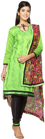 Florence Green Chanderi Cotton Embroidered Dress Material (SB-3331) (Unstitched)