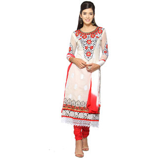 Florence White  Pink Chanderi Cotton Embroidered Dress Material (SB-3332) (Unstitched)
