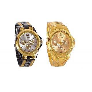 i DIVA'S GOLDEN BLACK + GOLDEN  ROSARA SIGNATURE DESIGN COMBO WATCH