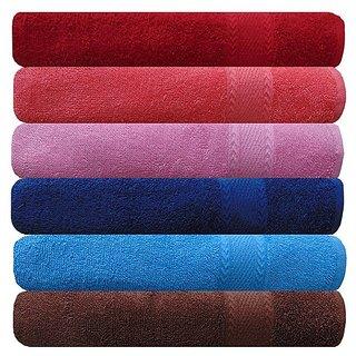 AKIN Royal Multicolor Cotton 500 GSM Hand Towel Set Of 6 (Length - 24, Width - 16)