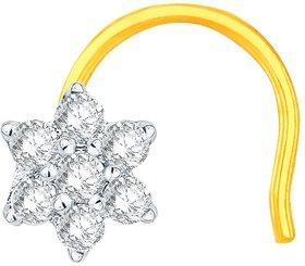 Nakshatra Modern 18k Yellow Gold and Diamond Nose Pin