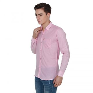 Creative Trends Plain Pink Casual Slimfit Poly-Cotton Shirt