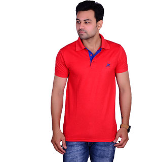 La Milano Men's Red Polo Neck Tshirt