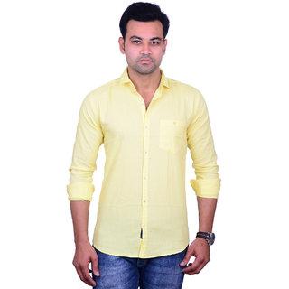 La Milano Men's Yellow Slim Fit Casual Shirt