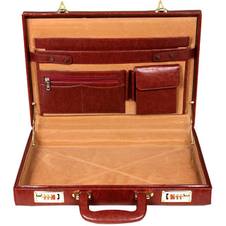 Leather World High Quality Pu 17 Inch Briefcase Office Bag Maroon