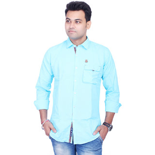 La Milano Men's Sky Blue Slim Fit Casual Shirt