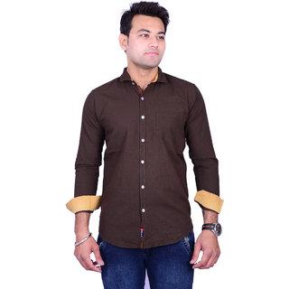 La Milano Men's Brown Slim Fit Casual Shirt