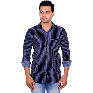 La Milano Men's Blue Slim Fit Casual Shirt