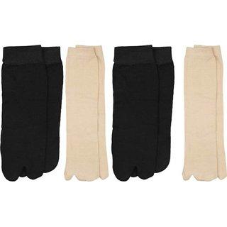 Tahiro BlacknBeige Cotton Thumb Ankle Socks - Pack Of 4