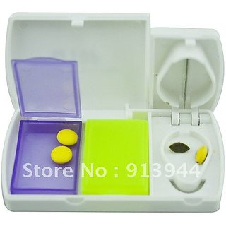 Pocket Tablet Box with Pill Cutter Two Compartment + Tablet cutter
