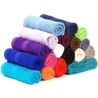 Bpitch Multicolor Plain Face Towels -Set of 12 -(26cmX26cm)